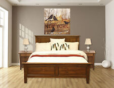 Ex-Display Full Queen Size Bed Distress Finish Teak Hardwood French Provincial