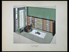 JEAN-CHARLES MOREUX, SALON BIBLIOTHEQUE - 1929 - POCHOIR, ART DECO