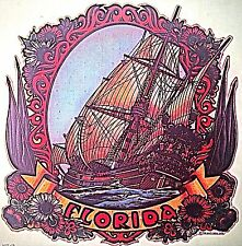 Original Vintage Florida Pirate Ship Iron On Transfer