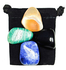 TRUTH REVEALED Tumbled Crystal Healing Set = 4 Stones + Pouch + Description Card
