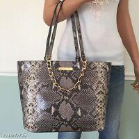 NEW! MICHAEL KORS Grey Black Embossed Leather Shoulder Bag Tote Purse Handbag