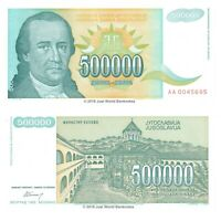 Yugoslavia 500000 Dinara 1993 P-131 First Prefix 'AA' Banknotes UNC