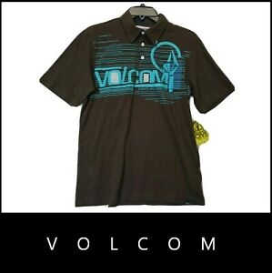 Volcom Youth Graphic Short Sleeve Polo Shirt Size XL Brown Nwt New