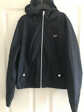 Ladies Hollister Navy Summer Lightweight Hooded Jacket - Size L (approx 12/14)