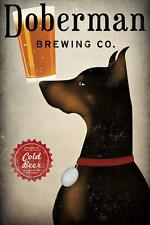 DOBERMANN BREWING Co. DOG PINSCHER ART PRINT RETRO STYLE ADVERT POSTER Cold Beer
