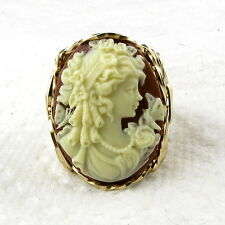 Goddess Butterfly Brown Cameo Ring 14K Rolled Gold Jewelry Resin Any Size