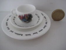 RARE WEDGWOOD PETER RABBIT BONE CHINA MINIATURE TINY TRIO CUP SAUCER AND PLATE