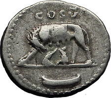 Domitian 77AD Romulus Remus She-Wolf ROME Founding Silver Roman Coin i58587