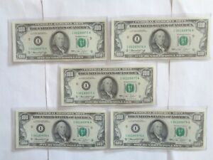 1974 I 5 Consecutive US $100 Federal Reserve Note Banknote Green Seal I06189975A