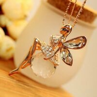 Elegant Women Crystal Fairy Angel Wing Pendant Necklace Long Sweater Chain Gift