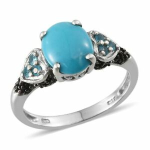AZ Sleeping Beauty TURQUOISE , SPINEL , APATITE RING in Plat / Sterling Silver