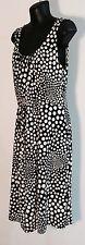 Basque Dress Sz 8 Jersey Knit Black White Polkadot Work Corporate Sz 8 ❤️