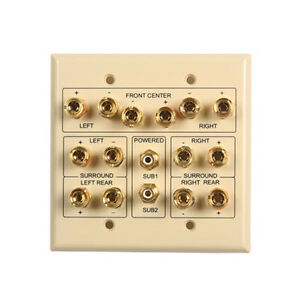 7.2 Surround Sound Home Theater Wall Plate, Ivory