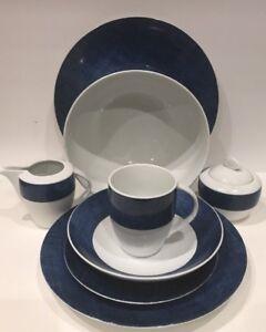 """Studio Nova """"BLUE DENIM"""" Fine Porcelain 25 Piece China Set Y0725 ( Oven Safe)"""