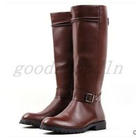 Btitish Fashion Mens Military PU Leather Knee High Riding Boots Cowbay Shoes SZ