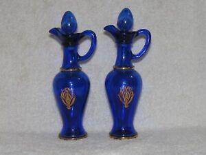 Two Vintage Avon Cobalt Blue Cruet Decanters
