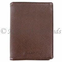 Glam Rock Brown High Quality Saffiano Leather Vertical Double ID Wallet
