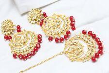 Indian Bollywood Partywear Pearl Kundan Red Maang Tikka Earrings Set Jewelry