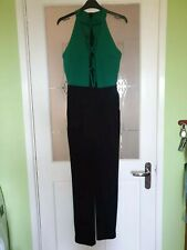Ladies Black and Green Sleeveless Plunge Body Suit Size Medium