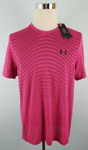 Under Armour UA Men's L Seamless Wave Tee Short Sleeve T-Shirt Pink 1351450 687