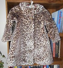 AMERICAN GIRL BITTY BABY CHOCOLATE CHERRY FAUX LEOPARD FUR COAT Lrg 5 6 NWOT