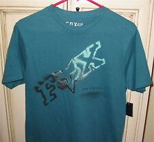 Men's Small FOX RACING Riders T Shirt Cotton Dark Turquoise Shiver Short Sleeve