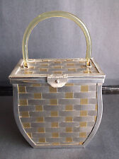 Vintage Gold & Silver Tone Metal Basket Weave Box Purse Lucite Handle