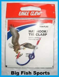 EAGLE CLAW FLAG HAT HOOK NEW! Hat Pin/Tie Clasp #155A-FLAG FISH HOOK HAT PIN