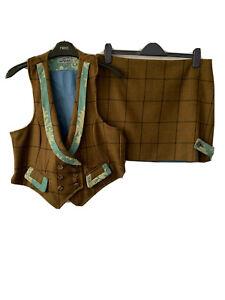 House Of Tweed Brown Blue Check Waistcoat Skirt Suit Set Country Wool Uk 12 14