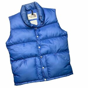 NORTH FACE Mens Vintage 70s Down Puffer Vest Large Blue Brown Label Made in USA