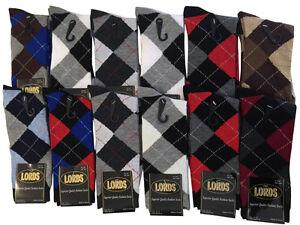 12 Pairs New Cotton Men's Lords Argyle Style Dress Socks Size 10-13 Multi-color
