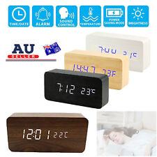 Wooden Digital Desk Table Clock LED Display Alarm Temperature Modern Home Decor