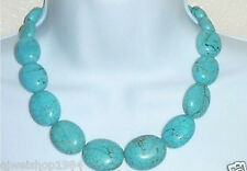 """Turquoise 18"""" Necklace Oval Beads Natural Stone13x18mm"""