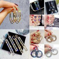 Gorgeous Silver,Gold,Rose Gold Hoop Earrings Crystal Women Wedding Jewellery