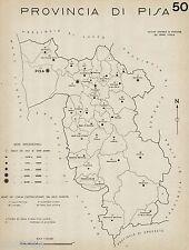 Provincia Pisa: Tutti i Comuni nel 1938,Carta Topografica. Anno XVI Era Fascista