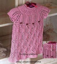(53) DK Knitting Pattern for Girls Beautiful Lacy Dress, 2-7yrs
