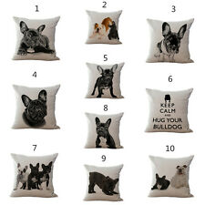 Black And White Bulldog Cushion Cover Lovely Dog Cotton Linen Throw Pillow Case
