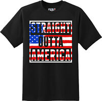 Straight Outta America Patriotic Freedom T Shirt  New Graphic Tee