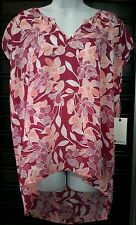 NWT Women's Stylus Floral Top SIZE XL NEW Flowers ROCK N ROSE PINK Coral Tunic