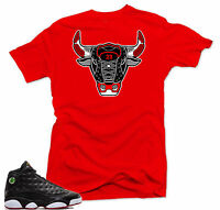 Shirt to match  Air Jordan Retro 13 Playoffs 2017 sneakers Bull 13.Red Tee