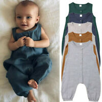 Newborn Infant Baby Girls Boys Linen Romper Outfits Jumpsuit Bodysuit Clothes
