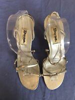 Dune London Women Silver High Heel Jewelled Sandals Size 7/40 (1001).