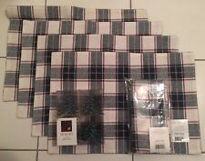 New Candy Cane Plaid Placements, Napkins, And Napkin Holders For 4