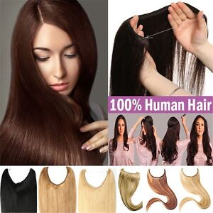 110g~150g Halo Hair Wire Flip In Invisible Wrap 100% Real Human Hair Extensions