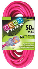 50' 12 Gauge Neon Flex Pink Extension Cord w/Lighted End (UL)