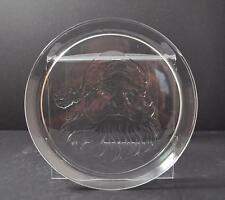 "Vintage Clear Glass Serving Santa Claus Sandwich Cake Plate Platter 13"" Gd2"