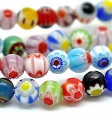 30x Millefiori Perlen Glasperlen Schmuck DIY Basteln Kugel rot 6mm ss183