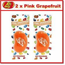 2 x Jelly Belly 3D Bean Hanging Car Air Freshener - Pink Grapefruit Scent