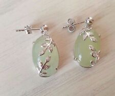 925 sterling silver Natural Jade earrings with CZ