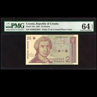 Republic of Croatia 25 Dinara 1991 PMG TOP POP 64 EPQ Choice UNCIRCULATED P-19a